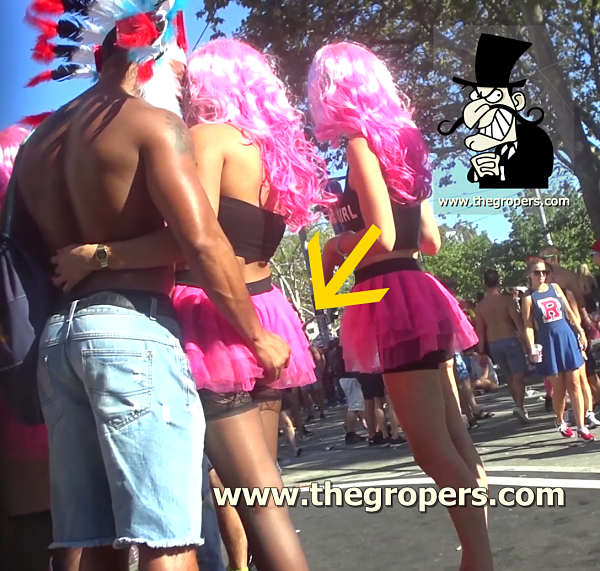 Upskirt touch in erotic fest