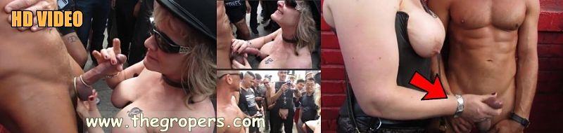 She grabbing my cock in erotic festival